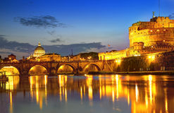 Rome at Night. View of the  Vatican with bridges over the River Tiber at Rome, Italy Stock Photo