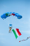 Rome. november 6, 2011. Italian army paratrooper. Exhibition of a paratrooper during the the day of the Italian armed forces Royalty Free Stock Photography