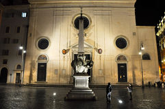 ROME-OCTOBER 7: Piazza della Minerva at night on October 7,2010 in Rome, Italy. Stock Images