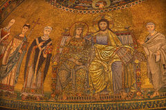 Rome - Old mosaic Coronation of the Virgin from main Apse of Santa Maria in Trastevere Royalty Free Stock Photos