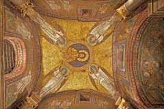Rome - old mosaic from roof of side chapel from Santa Prassede church Stock Image