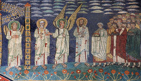 Rome -  Old mosaic from Santa Prassede. Rome -  Old mosaic of angels and saint in heaven from apsidal arch in basilica di Santa Prassede on March 22, 2012 in Rom Stock Photography