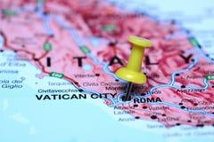 Rome op een kaart van Europa wordt gespeld dat Stock Afbeelding