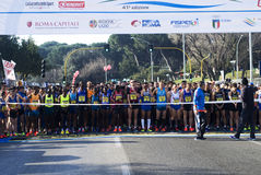 Rome-Ostia half marathon start Royalty Free Stock Images