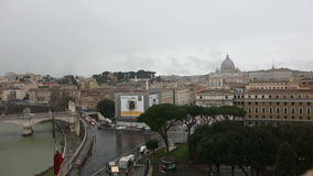 Rome overview of tiber and Vatican city stock footage