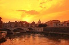 Rome på solnedgång Arkivfoto