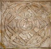 Rome - pélican et croix en tant que vieux symboles chrétiens Image libre de droits