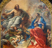 Rome - The painting of SS Ambrose and Charles Presented to Christ by Our Lady in church Basilica dei Santi Ambrogio e Carlo Royalty Free Stock Photo