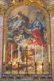 Rome - The painting of SS Ambrose and Charles Presented to Christ by Our Lady (1685 -1690) Stock Photo