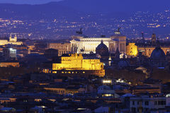 Rome panorama with Monument of Vittorio Emanuele II and Castel S Royalty Free Stock Image