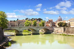 Rome panorama of St Peter`s Basilica and river Tiber Stock Images
