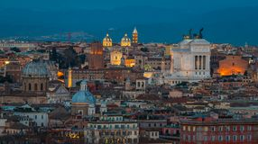 Rome panorama at sunset from the Gianicolo Hill Terrace. The Janiculum is a hill in western Rome, Italy. Although the second-tallest hill in the contemporary Royalty Free Stock Photo