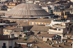 Rome, pantheon aerial view panorama landscape. A breathtaking view of the city of Rome (Italy). View from above. visible numerous buildings and roofs of the Stock Photography