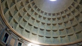 Rome Pantheon dome footage panning around the oculus showing the dome roof 4k stock video