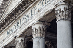 Rome pantheon facade detail with columns Royalty Free Stock Photography