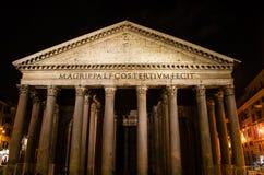 Rome pantheon facade at night time Stock Image