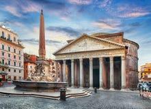 Rome - Pantheon, nobody. At sunrise Stock Photos