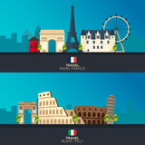 Rome and Paris. Tourism. Travelling illustration Rome and Paris city. Modern flat design. Italy travel. France. Royalty Free Stock Image