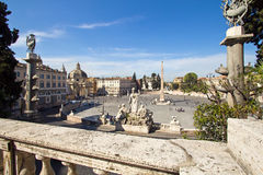 Rome, Piazza del Popolo Stock Afbeeldingen