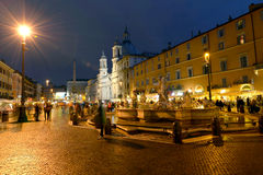 Rome, Piazza Navona. Illuminated fountain on Piazza Navona in Rome Royalty Free Stock Photos