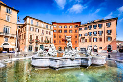 Rome, Piazza Navona. Rome, Italy. Piazza Navona and The Fountain of Neptune from 1576 with his trident fight stock images