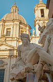 Rome - Piazza Navona in morning and Fontana dei Fiumi by Bernini and Santa Agnese in Agone Stock Photos