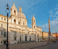 Rome - Piazza Navona in morning and Santa Agnese church Royalty Free Stock Images