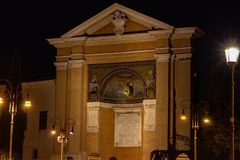 Rome, Piazza San Giovanni, the 28 steps of the Holy Stairs. stock photography