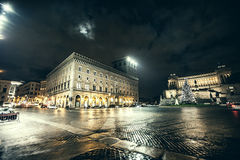 Rome, Piazza Venezia at Christmas. Night. Christmas tree. Royalty Free Stock Images