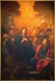 Rome - pingstdagenmålningen vid G Maria Morandi (1622 - 1717) i kyrkliga Chiesa Nuova royaltyfri bild