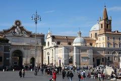 Rome - Popolo fyrkant Arkivbilder