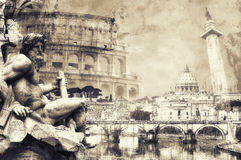 Rome postcard in sepia Stock Images