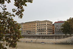 Rome près de St de Castel Angelo Tiber Images libres de droits