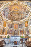 Rome - The presbyter and fresco of The Glory of Heaven 1630 in main apse of church Basilica di Santi Quattro Coronati Royalty Free Stock Photos