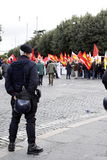 Rome, protestations contre le gouvernement Image libre de droits