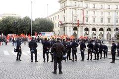 Rome, protesten tegen de overheid royalty-vrije stock foto's