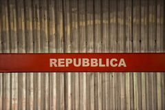 Rome repubblica metro sign Stock Photography
