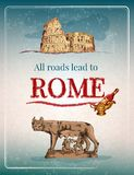 Rome retro affisch stock illustrationer