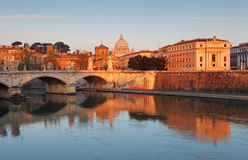 Rome with river Tevere at sunrise.  Stock Photo