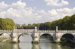 Rome river Tiber with bridge Royalty Free Stock Photo