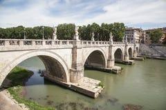 Rome river Tiber with bridge Stock Image