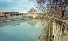 Rome the river Tiber and the castle Sant Angelo in Winter Travel. Italy Capital City royalty free stock photography