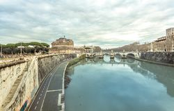 Rome the river Tiber and the castle Sant Angelo in Winter Travel. Italy Capital City Stock Images