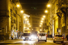 Rome road at night, urban traffic and citylife. Italy. Road of Rome at night. With urban traffic. Corso Vittorio Emanuele II, the old town. Italy Stock Image