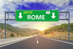 Rome road sign on highway Stock Photo