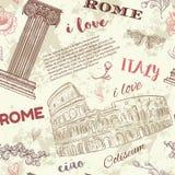 rome Rocznika bezszwowy wzór z kolosseumem, klasyk stylową kolumną, kwiatami i tekstem na grunge tle, royalty ilustracja