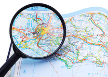 Free Rome - Roma Map Under Lupe Royalty Free Stock Photography - 4787067