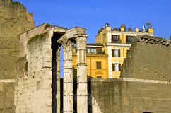 Rome Roman forum column ruins capital antiquity. Italy temple Royalty Free Stock Image