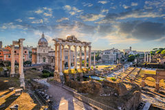 Rome Roman Forum. Roman Forum when sunrise, Rome, Italy Royalty Free Stock Photo
