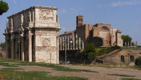 Rome. Roman Forum, Temple of Venus and Roma built by Emperor Hadrian, seen from the Arch of Costantine Stock Photography